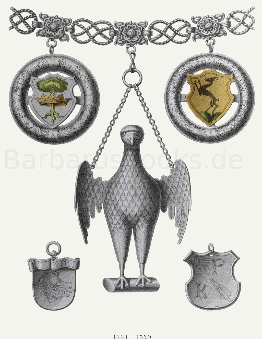 Bestandteile der silbernen Schützenkette aus dem Rathaus zu München (1463–1550).