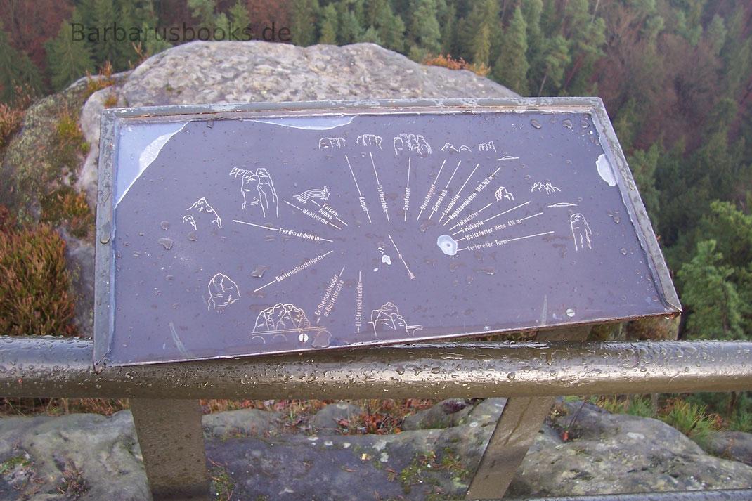 Namen der Felsen Bastei Sächsische Schweiz