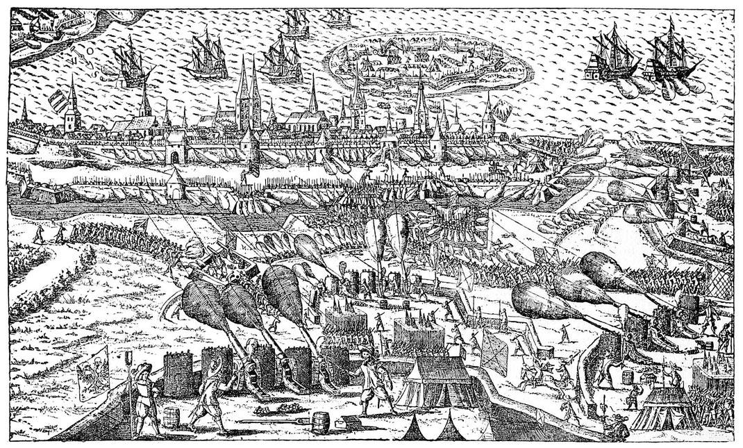 Belagerung von Strahlsund 1628. Gleichzeitiges Kupferstich. München, Hofbibliothek.