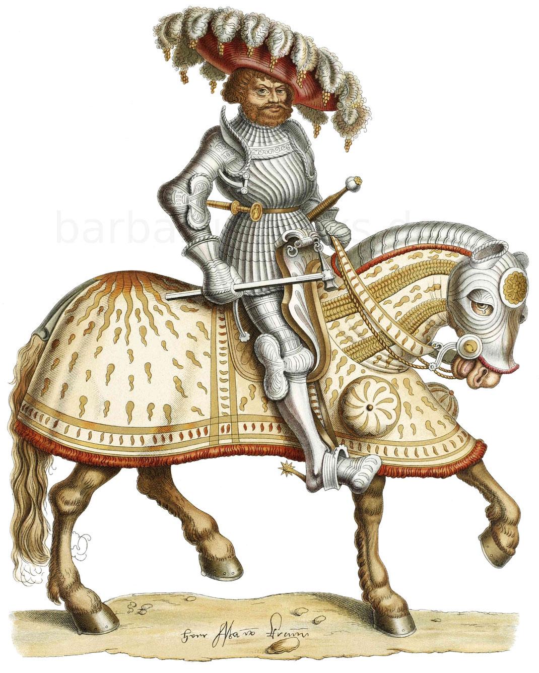 Ritter zu Pferd, nach einer Federzeichnung aus der ersten Hälfte des 16. Jahrhunderts