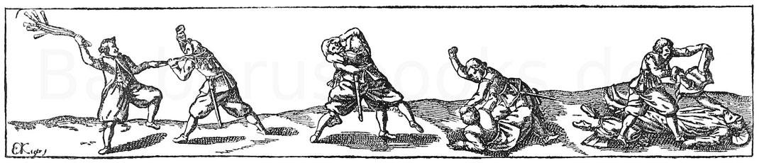Fußkampfszenen. Stich von Eberhard Kiefer aus J. J. von Wallhausen, Ritterkunst. Frankfurt 1616.