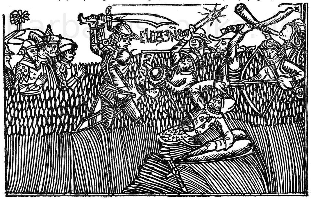 Gefechtsszene. Holzschnitt aus der Deutschen Bibel. Köln, Quentel, ca. 1480.
