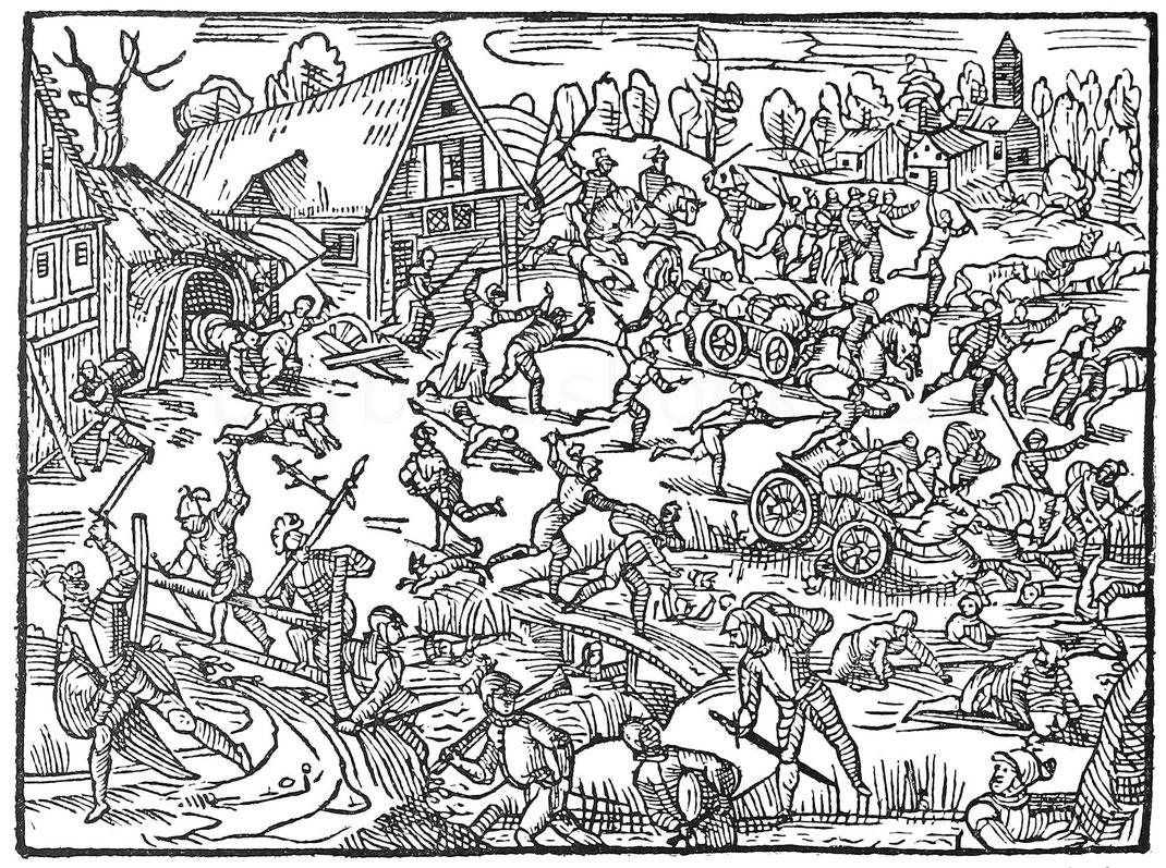 Plünderung eines Dorfes. Holzschnitt aus Hamelmann, Oldenburgisches Chroniken. Oldenburg 1599.