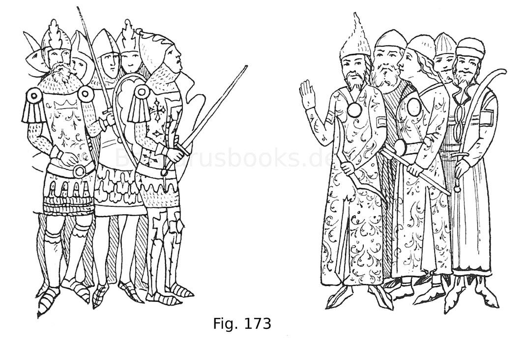 Fig. 173. Gegenüberstellung von europäischen und orientalischen Kriegern. Miniatur aus der Chronica de Gestis Hungarorum der k. k. Hofbibliothek in Wien vom Jahr 1330.