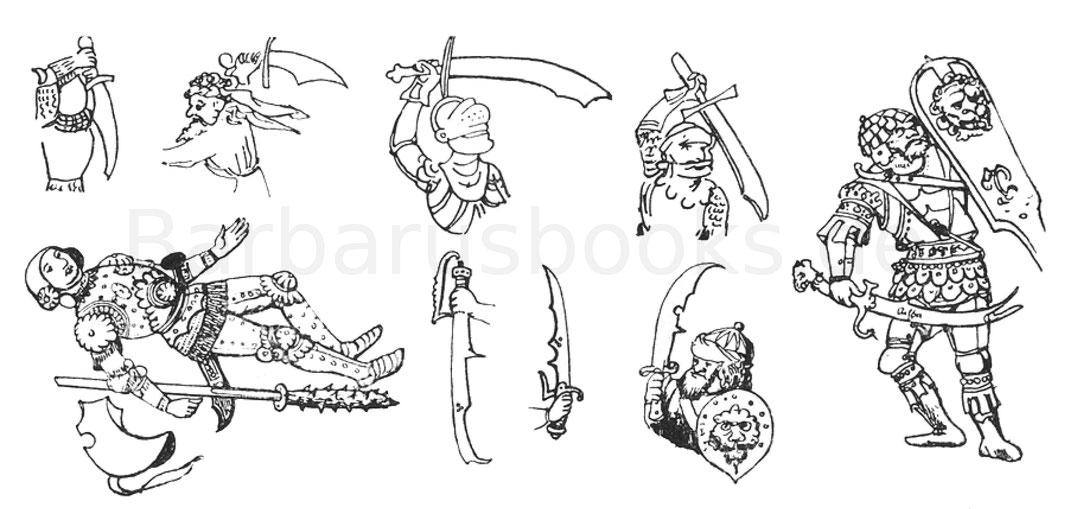 Zeichnungen von verschiedenartigen Coutelas.