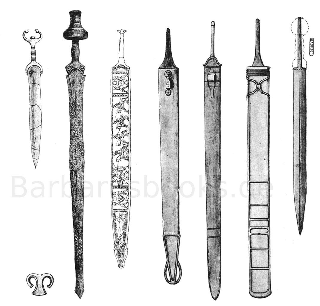 Verschiedene Latène-Schwerter und ein römischer Gladius.