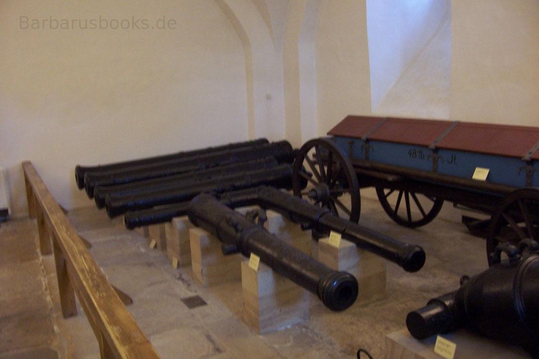 Vorderlader-Geschütze ohne Lafette und Munitionswagen auf der Festung Königstein Sachsen