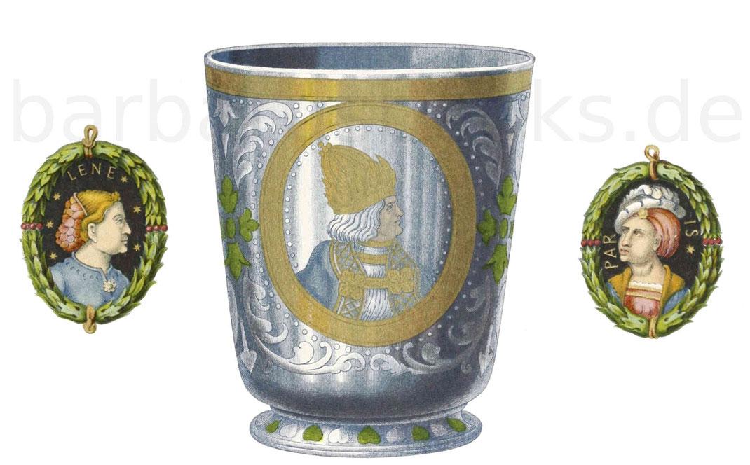Glaspokal mit farbigem Email aus dem Jahr 1529, im Besitz des Fürsten von Hohenzollern zu Sigmaringen.