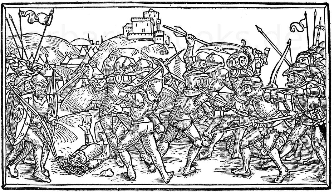 Einzelkämpfe im 15. Jahrhundert. Holzschnitt aus der Lübecker Bibel. Lübeck, Steffen Arndes, 1494.