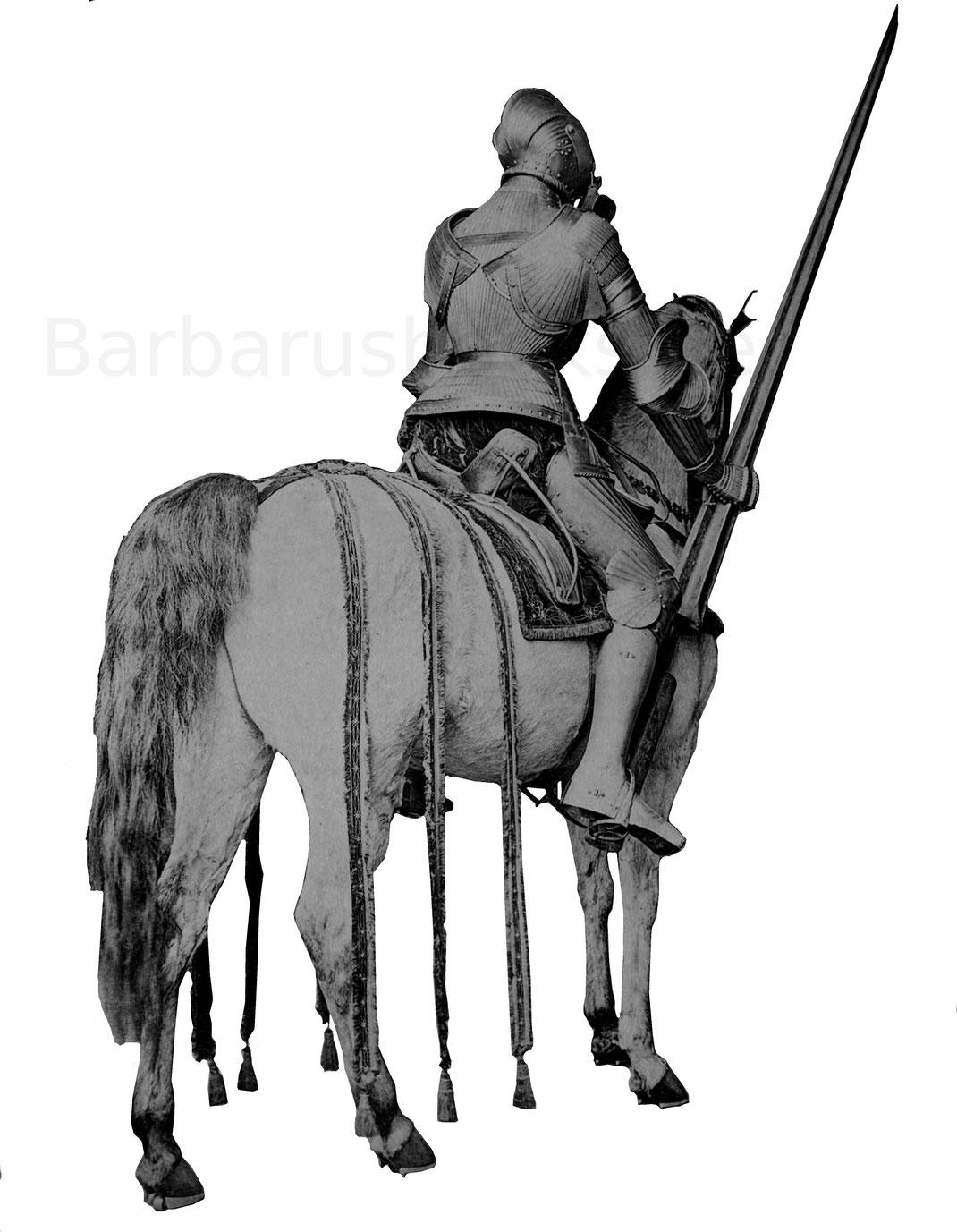 Rückansicht der Reiterrüstung des 16. Jahrhunderts.