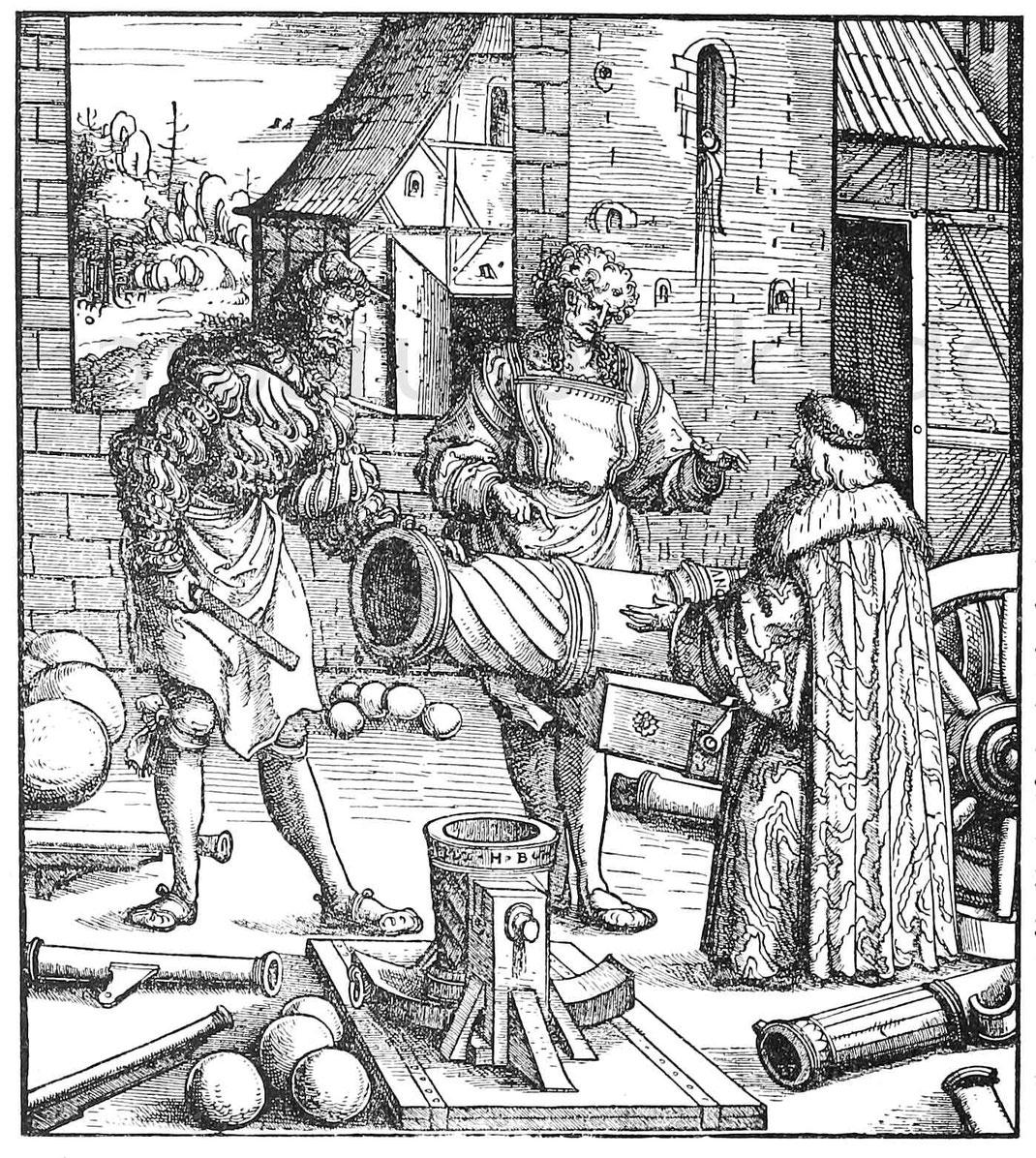 Kaiser Maximilian und Geschützgießer. Holzschnitt von H. Burgkmair aus dem Weißkunig.