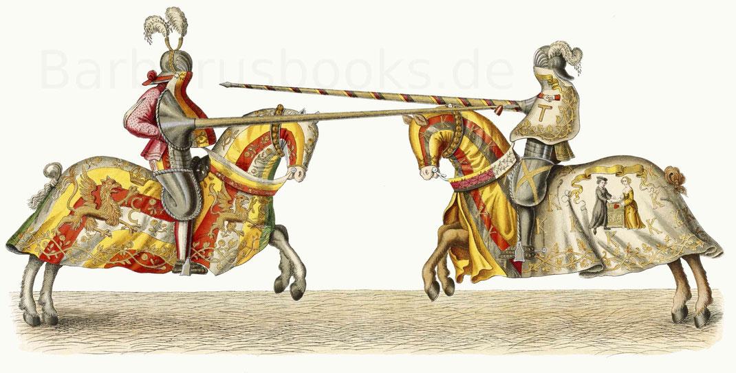 Turnier (Scharfrennen) zwischen Kaiser Maximilian I. und dem Kurfürsten Friedrich III. von Sachsen im Jahre 1497.