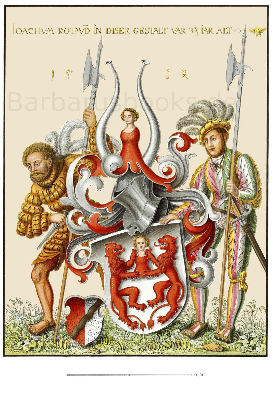 Ölgemälde, darstellend ein Wappen mit zwei Landsknechten