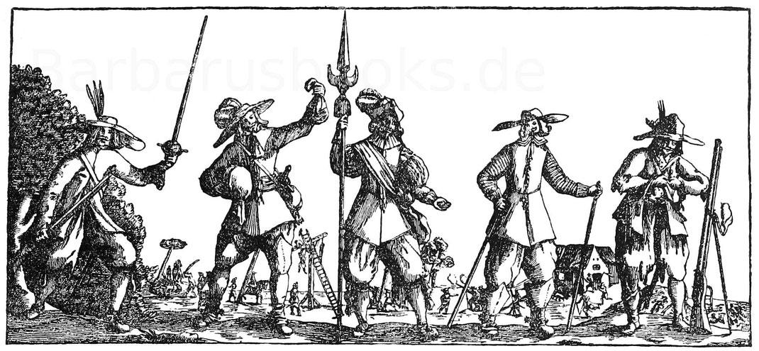 Spottlied auf Marodeure während des Dreißigjährigen Krieges. Aus einem fliegenden Blatt. Nürnberg, Germ. Museum.