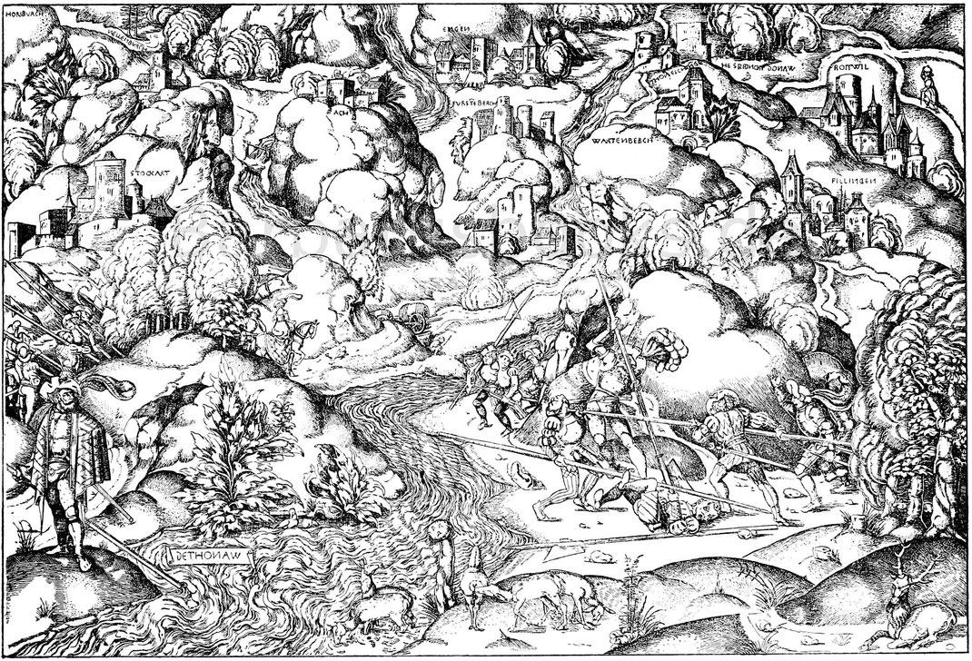 Kampfszene aus dem Schwabenkrieg im 15. Jahrhundert. Kpfr. vom Meister P. W. Nürnberg. Germanisches Museum. P. II, p. 159.