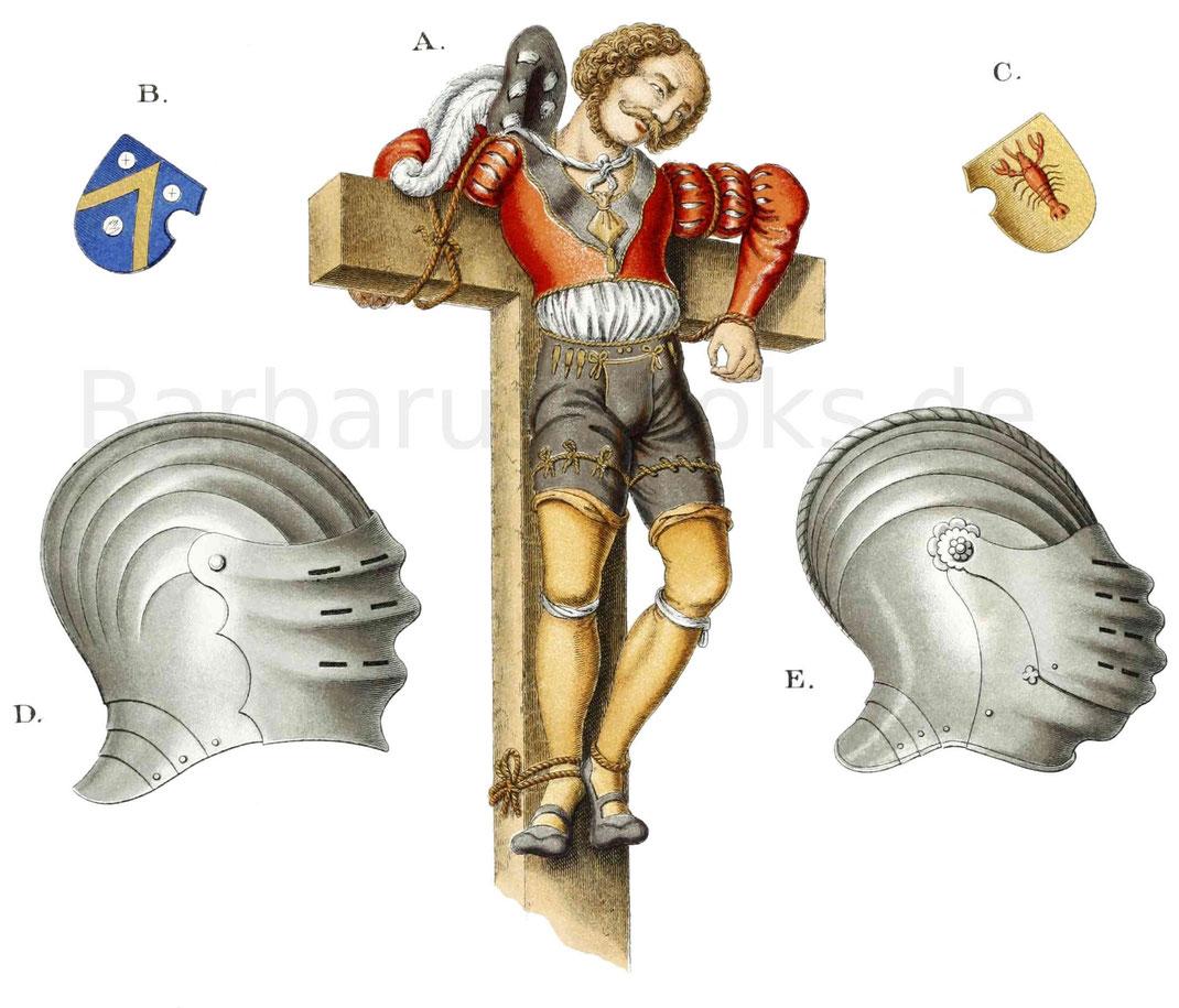 Tracht und Harnischteile aus der ersten Hälfte des 16. Jahrhunderts.