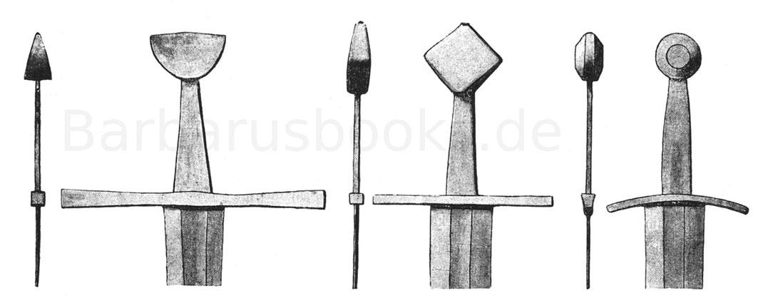 Spätromanisches Schwert des 13. Jahrhunderts, ritterliches Schwert des 13. Jahrhunderts und ritterliches Schwert des 14. Jahrhunderts.