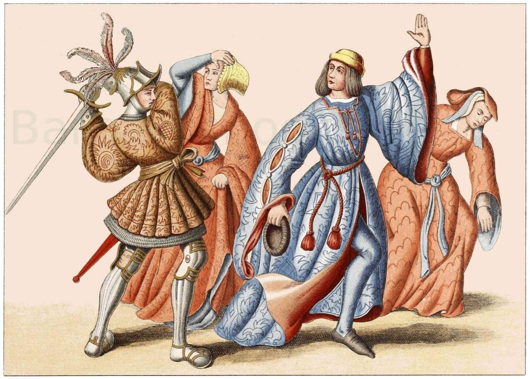 Die untere Darstellung ist eine Gruppe aus den gewirkten Tapeten zu Nancy.