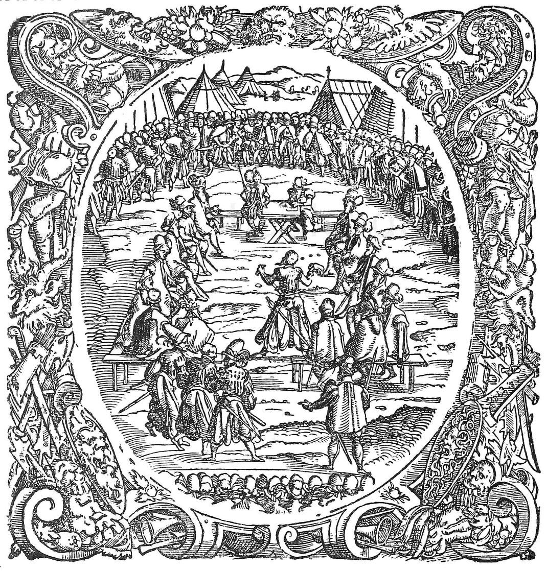 Gericht bei besetzter Bank. Holzschnitt von J. Amman. Aus Fronsperger, Kriegsrechte. Frankfurt 1566.