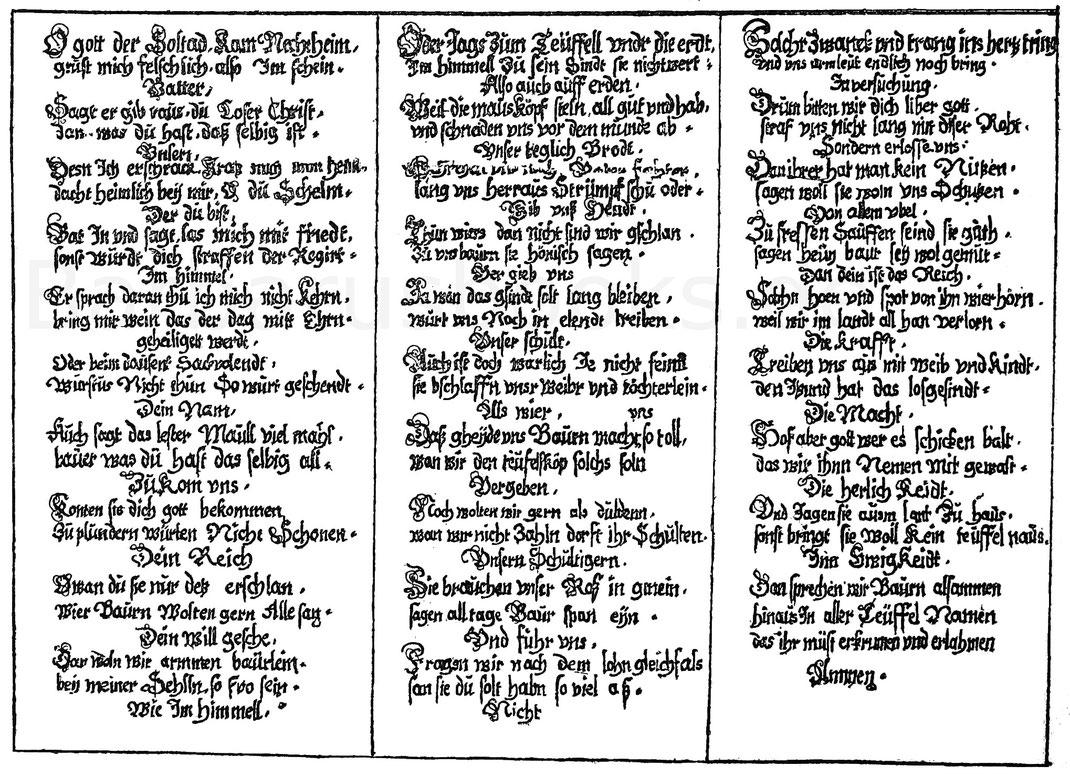 Bauern-Vaterunser. Fliegendes Blatt aus dem 17. Jahrhundert. Dresden, Königl. Bibliothek.