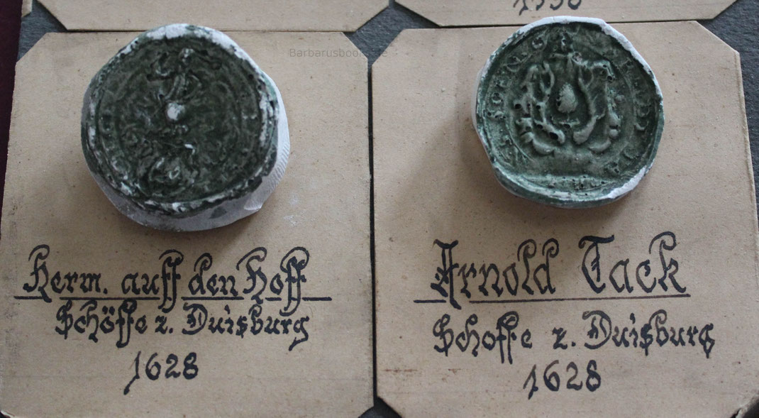 Zwei Amtsschöffensiegel aus dem Jahr 1628 aus einer privater Sammlung