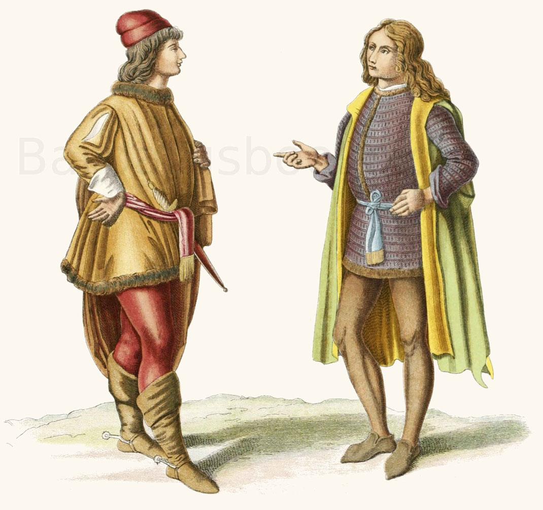 talienische Trachten aus der zweiten Hälfte des 15. Jahrhunderts.