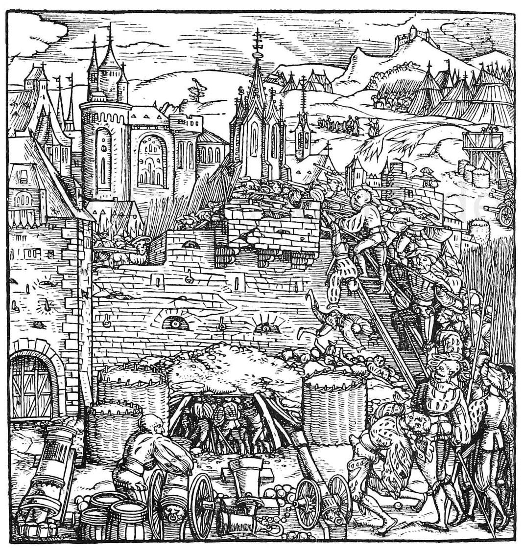 Belagerung und Aufschütten von Dämmen. Holzschnitt aus Livius. Mainz 1523.