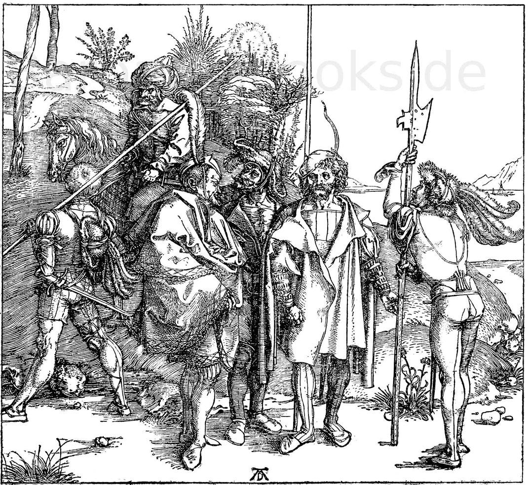 Landsknechte aus dem Ende des 15. Jahrhunderts. Stich von A. Dürer (1471 - 1528). Berlin, Kupferstichkabinett. B. 88
