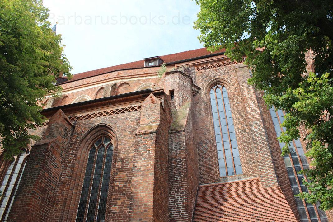 Der Zustand der Kirche ist reastaurationswürdig, wie die Wildpfanzen am Kirchschiffdach zeigen