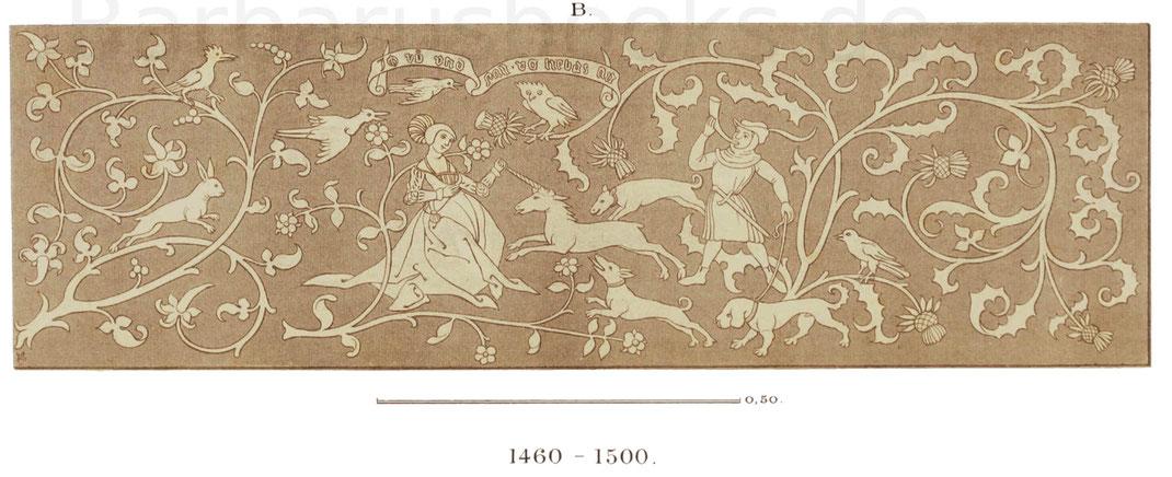 Ein leinenes, gesticktes Handtuch aus der zweiten Hälfte des 15. Jahrhunderts.