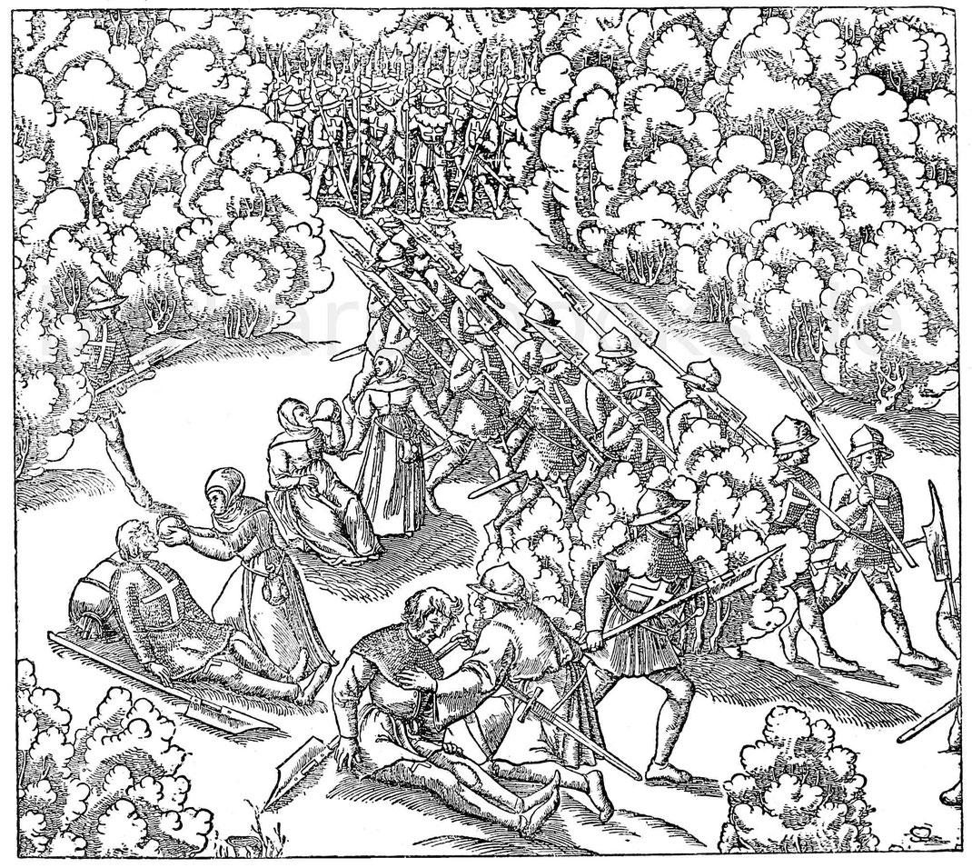 Schweizer auf dem Marsch. Links Pflege Verwundeter. Aus dem Holzschnitt von H. R. Manuel Deutsch (geboren 1525). Schlacht von Sempach 1386.