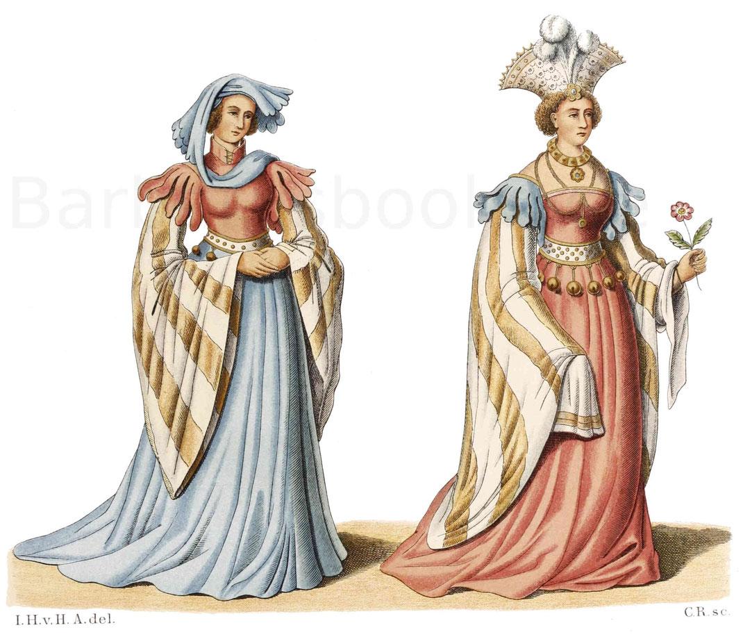 Frauentracht aus der zweiten Hälfte des 15. Jahrhunderts.