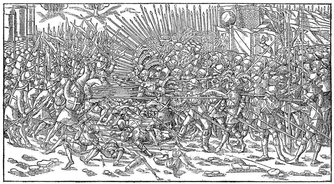Schlacht bei Sempach 1386. Aus dem Holzschnitt von Hans Rudolf Manuel Deutsch (geboren 1525). Berlin, Kupferstichkabinett.