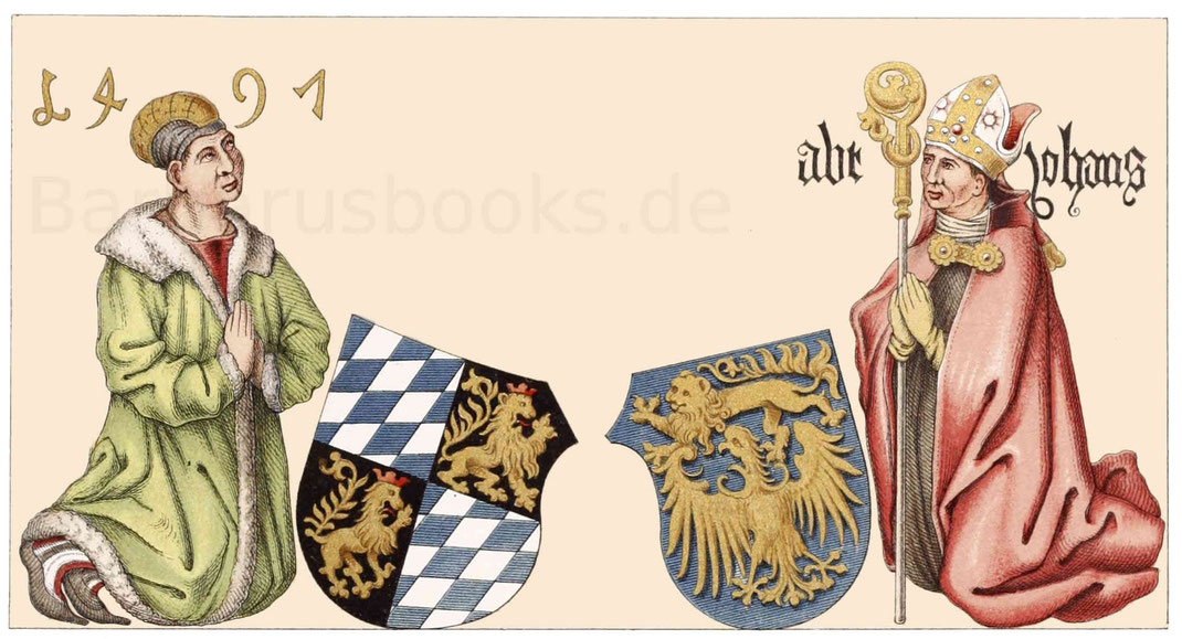 Die obere Darstellung zeigt kniend und betend den Herzog Sigismund von Bayern.