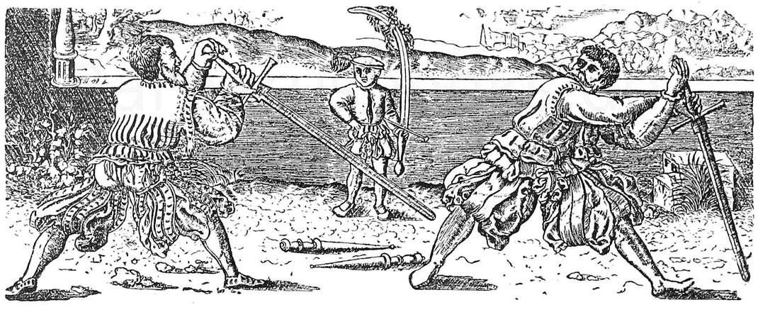 Fechter im 16. Jhd. Stich von Franz Brun. Wien, k. k. Kupferstichsammlung.