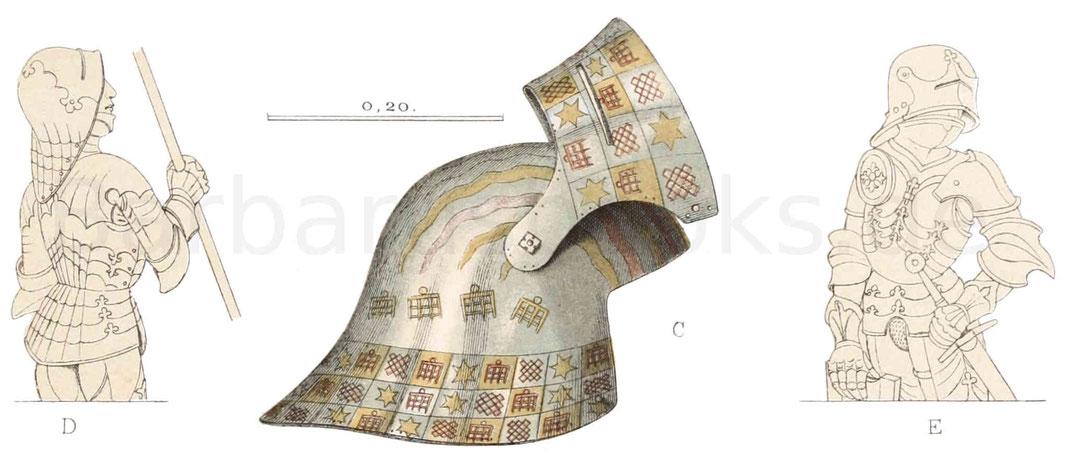 Aus Eisen getriebenen Helm (Salade) mit halbem Visier.