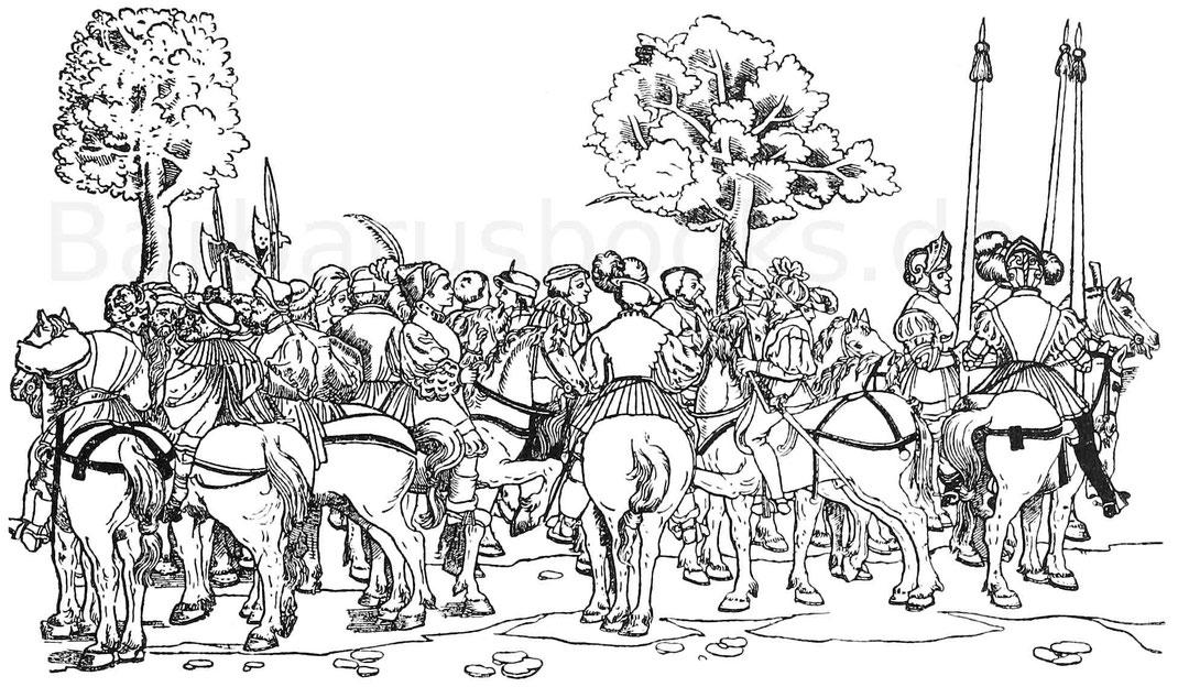 Reiterhorde Reuter Landsknechte auf Pferde.