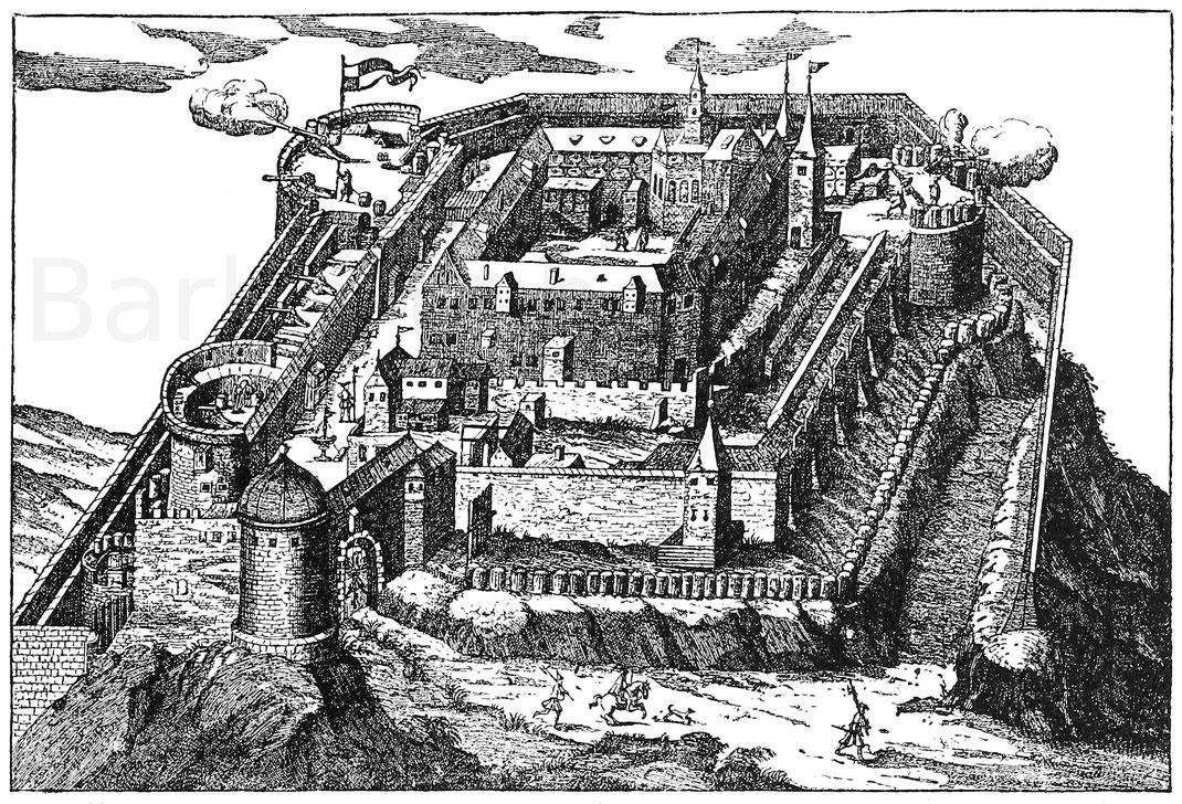 Historisches Bild der Plassenburg in Franken (Bayern).