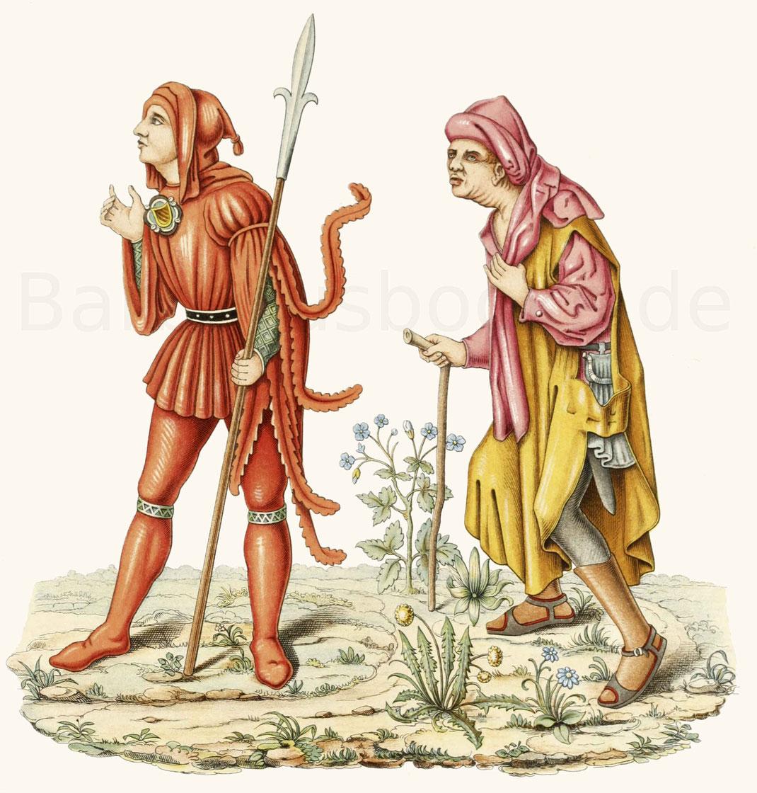 Tracht eines Gerichtsboten, gegen Ende des 15. Jahrhunderts.