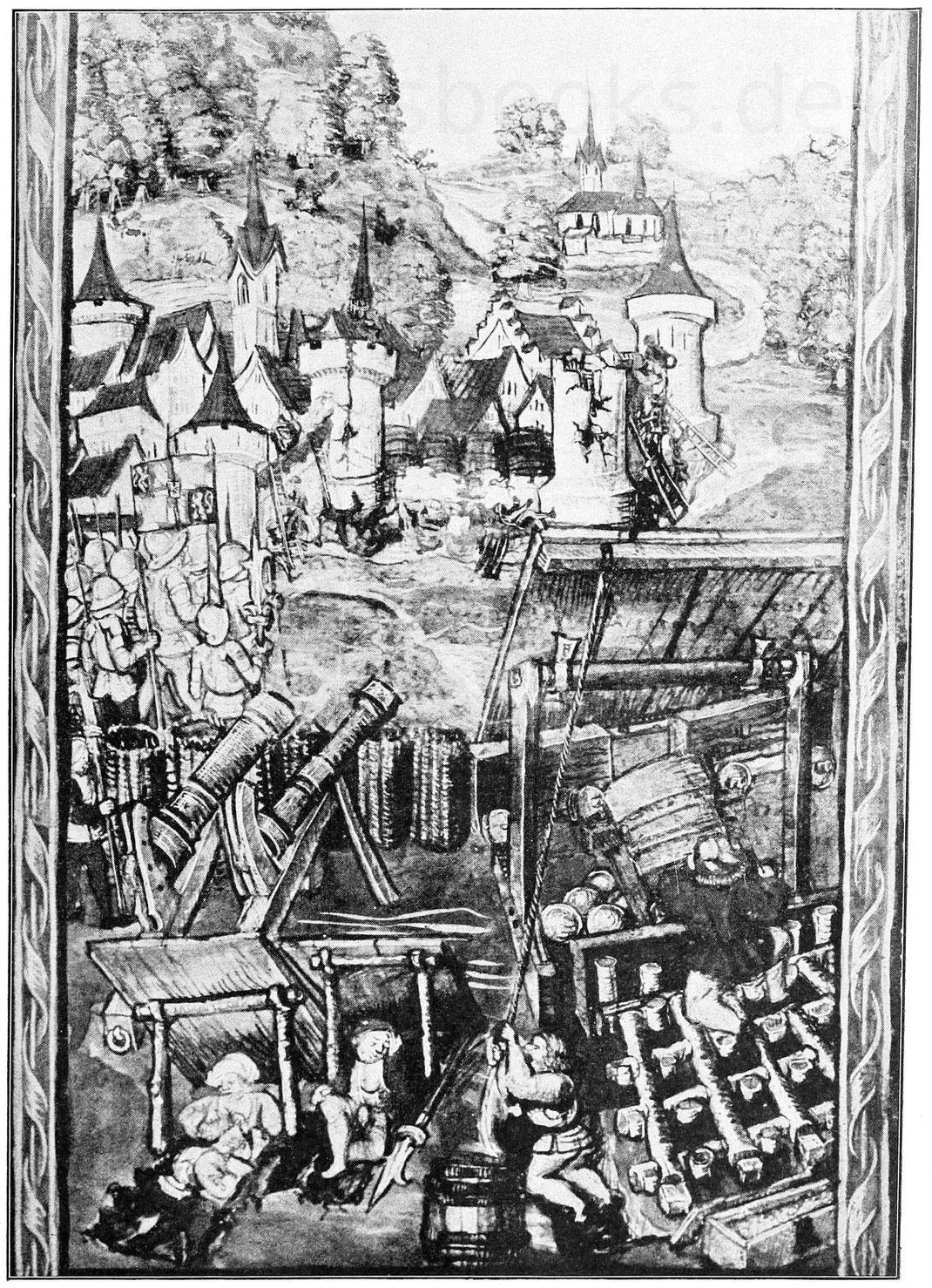 Burgundische Truppen von Nancy. Miniatur aus: Diebold Schilling, Schweizerchronik. Handschrift 1484. Luzern, Bürgerbibliothek.