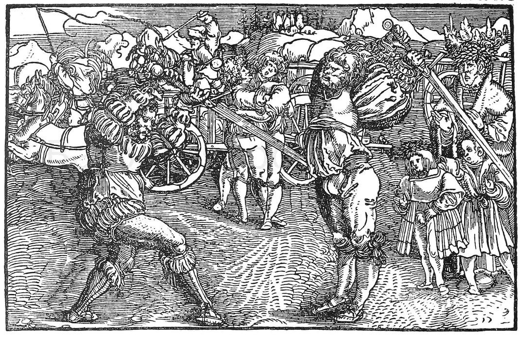 Zweikampf mit Flambergen im 16. Jhd. Holzschnitt aus Petrarcas Trostspiegel. Augsburg, Steyner 1539.