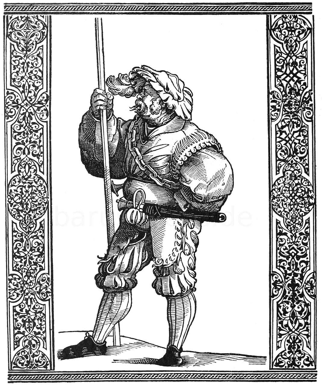 Stoffel Allwegwol. Holzschnitt von Peter Flötner. Aus Breunner-Enckevort, Kriegsvölker 1883.