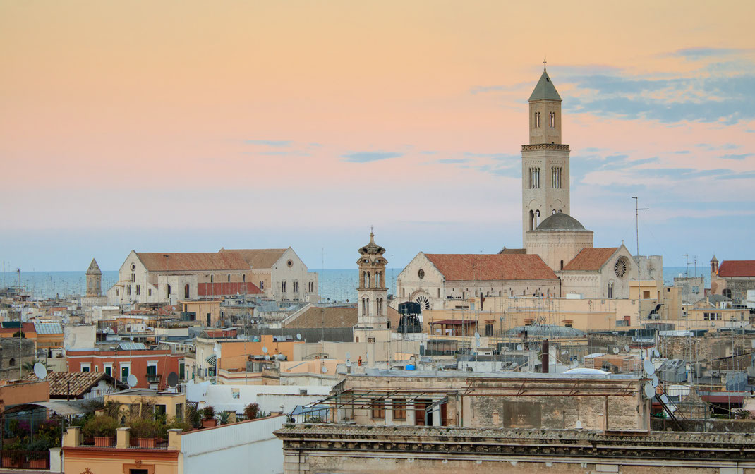 Bari is a port City on the Adriatic sea and the capital of southern Italy's Puglia region. The international airport is approached by Lufthansa, Swiss, Alitalia and other international airlines.