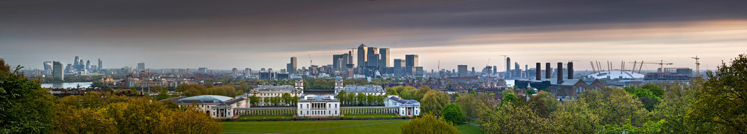 London panorama,  Greenwich, Canary Wharf,