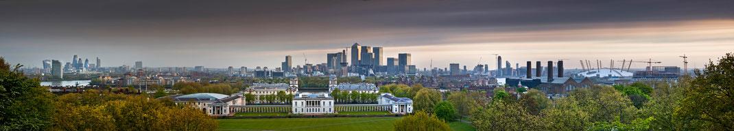 London panorama,  Greenwich, Canary Wharf,