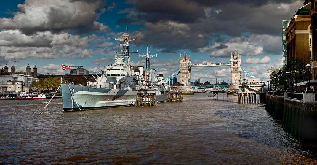 London panorama,, HMS Belfast and Tower Bridge