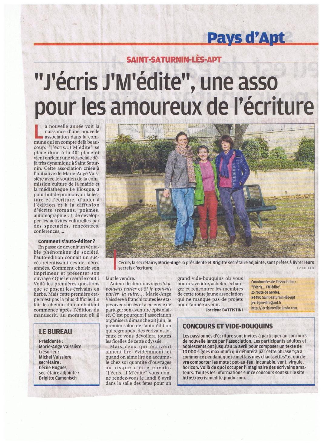 La Provence le 8 Janvier 2015