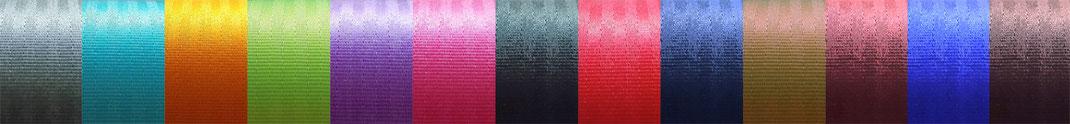 Autogurt–Farbpalette: grau / türkis / orange / neongrün / violett / pink / schwarz  / rot / dunkelblau / olive / bordeaux / blau / braun