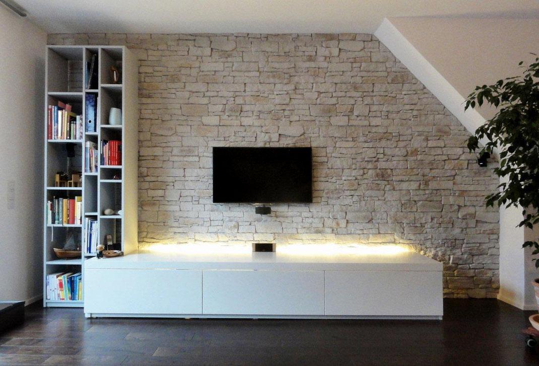 Panel Piedra - Serie Classic - Pizarra Nepal Sand Weiss - TV Wand