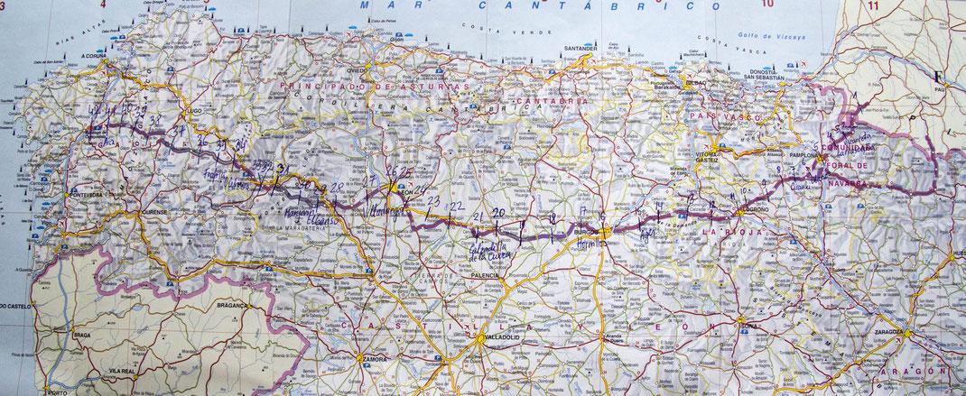 Šv. Jokūbo kelio žemėlapis iš Kristinos Stalnionytės knygos Kelias į Santjago de Kompostelą